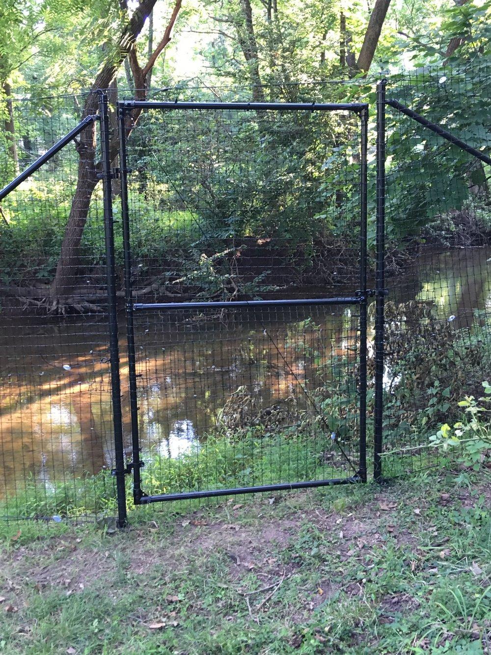 "4' X 78"" access gate along water in Pennsylvania"