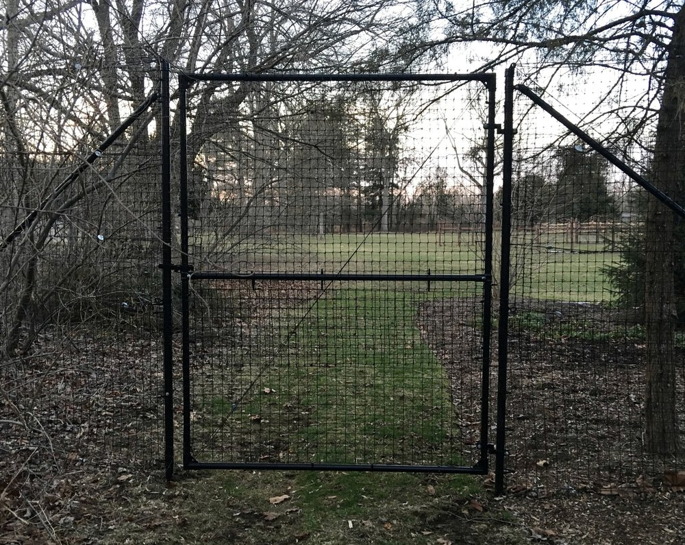 5 foot x 7 foot deer fence access gate system with no top brace.