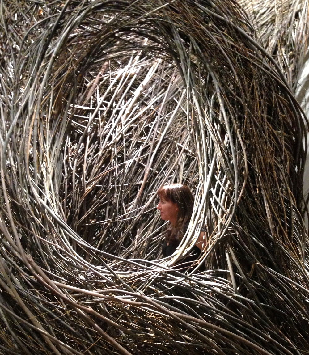 Jil nesting in a Patrick Doherty sculpture at the Renwick Gallery at the Smithsonian