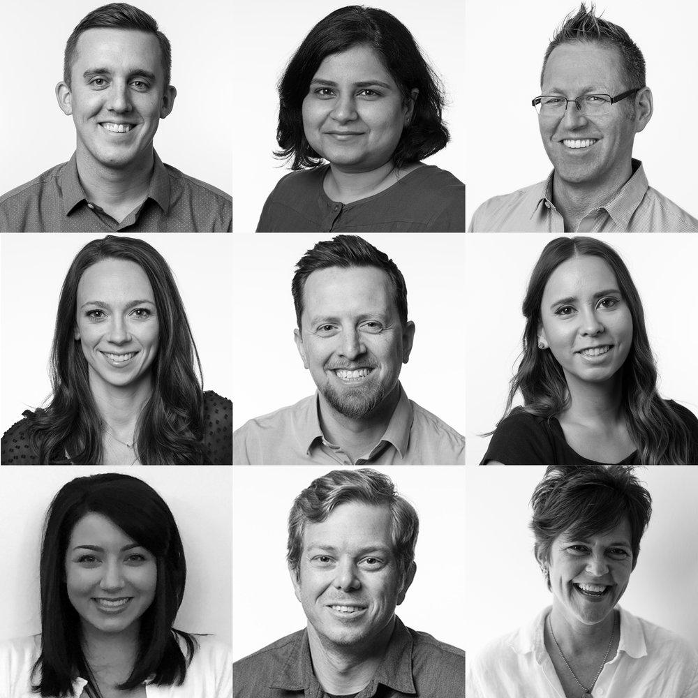 Tyler Stowell, AIA, Associate; Ekta Khuller, LEED AP, WELL AP, Associate; James Hadden, MBA, LEED AP, Principal; Katie Walker, RID, Associate; Michael Gilbert, RA, Associate; Marla Elm, RID, Associate; Amanda Simmons, IIDA, Associate; Paul Suttles, RA, LEED Green Associate, Associate; and Christi Grider, Associate