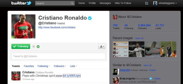 Cristiano's tweet!
