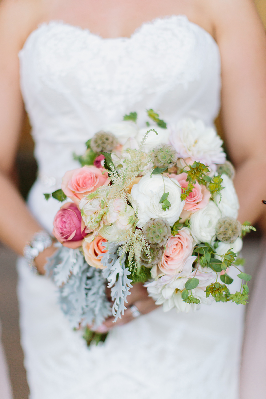 Versillia Roses, White Dahlias, Romantic Antique Garden Roses, Scabiosa Pods, White Astilbe, Bupleurum and Dusty Miller.