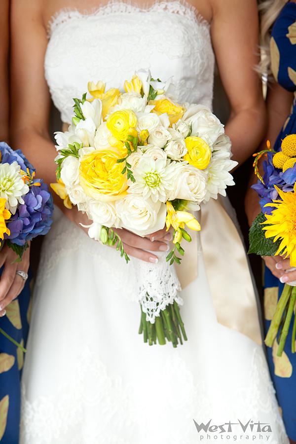 Vendela Roses, White Dahlias, Lemon Pompon Garden Roses, White Majolica Spray Roses, Yellow and White Freesia.