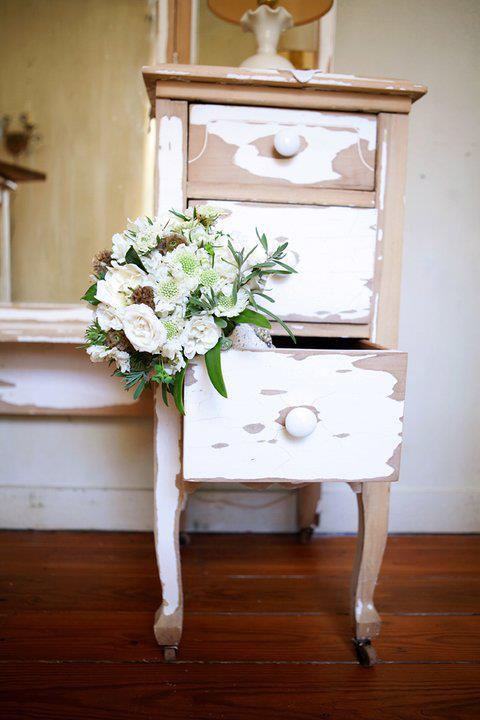 White Scabiosa, Scabiosa Pods, Gardenias, White Majolika Spray Roses, Buplerum, and Lavender Foliage.