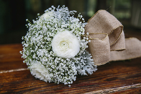Baby's Breath, White Ranunculus, and Dusty Miller.