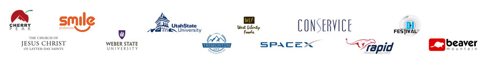 Cherry Peak Resort, Smile Production, Weber State University, Utah State University, Tremonton City, West Liberty Foods, Space x, Conservice, Rapid Financials.