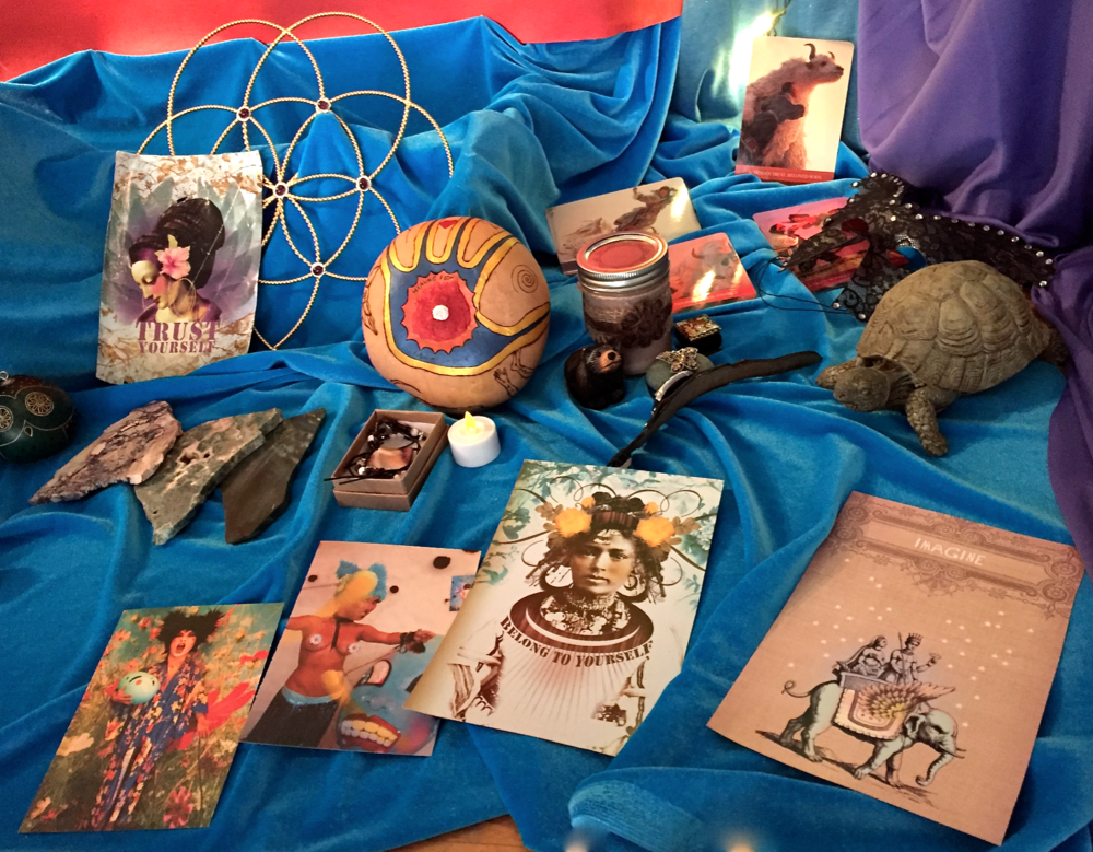 Detail of offerings made by the group to honor the Fifth Chakra