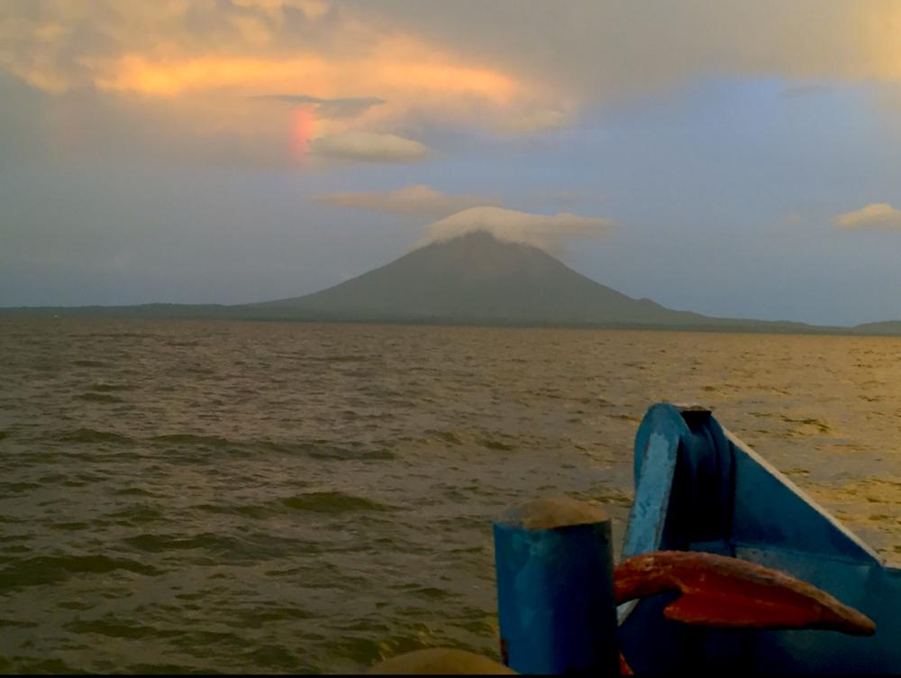Crossing Lake Nicaragua with Ometepe Island ahead of us. Magical!