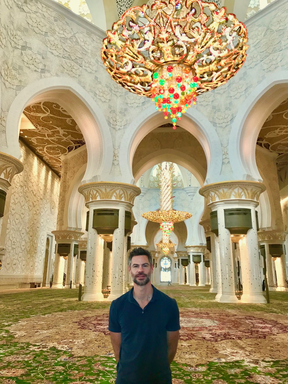 The author at Sheikh Zayed mosque in Abu Dhabi.