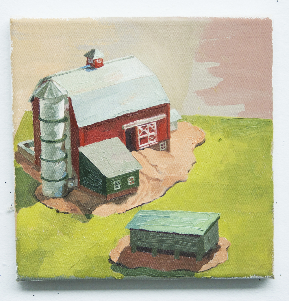 The Farm - oil on canvas, 12 x 12 in