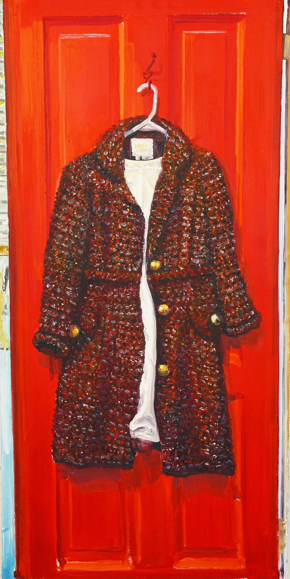 Her Coat -  oil on canvas, 58 x 29 in
