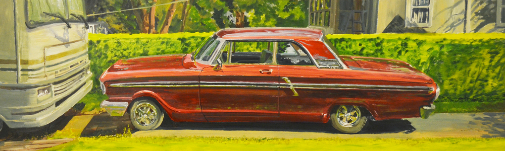 Just for Summer -  oil on panel, 28 x 72 in