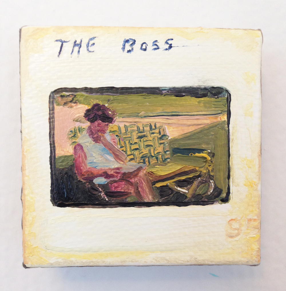 """""""The Boss"""" - oil on canvas, 2 x 2 in"""