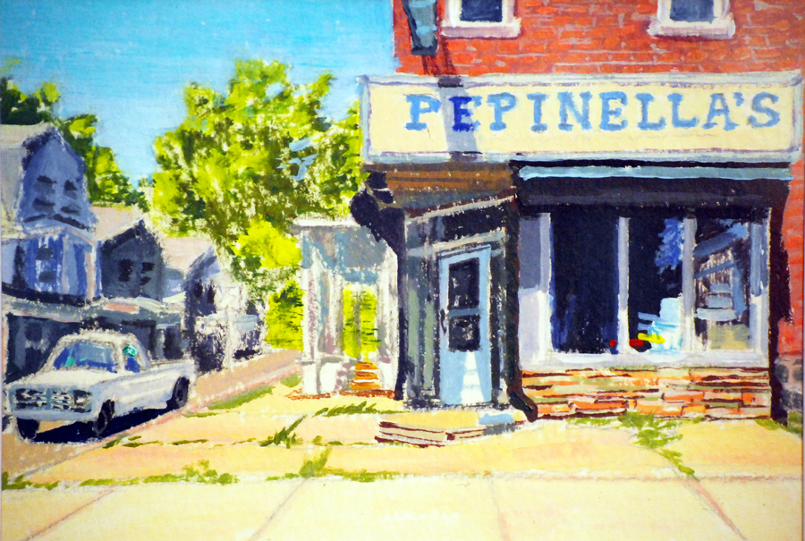 Pepinella's -  acrylic on paper, 5 x 7 in