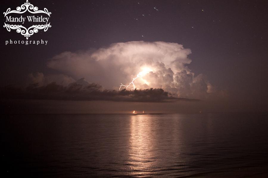 Lighting storm over the ocean