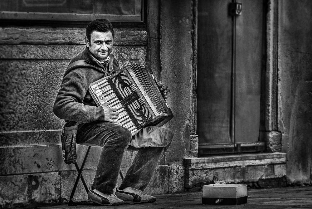 'The Accordionist of Venice'  , Venice, Italy, 2012