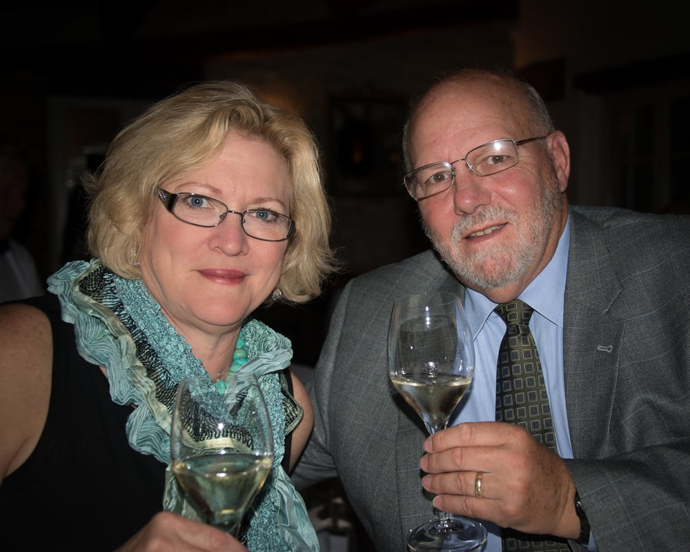 My wife Ellen and myself, enjoying a glass of Perolla Vermentino