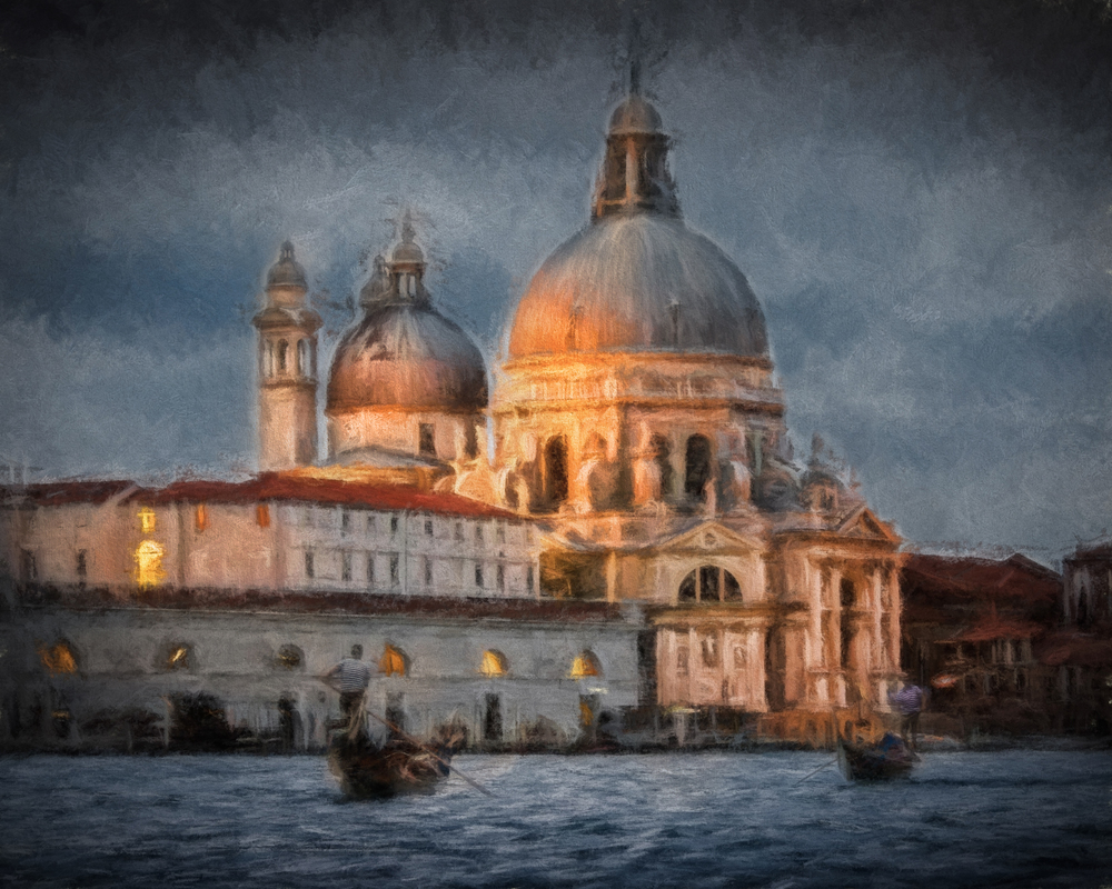 Digital 'painting' of the church of Santa Maria della Salute