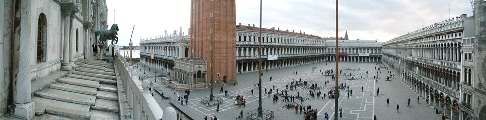 A view of the massive Piazza San Marco from the balcony of Basilica San Marco