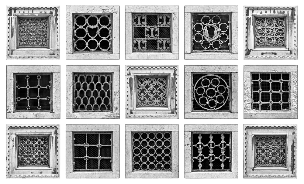 A collage of iron-barred windows in Venice
