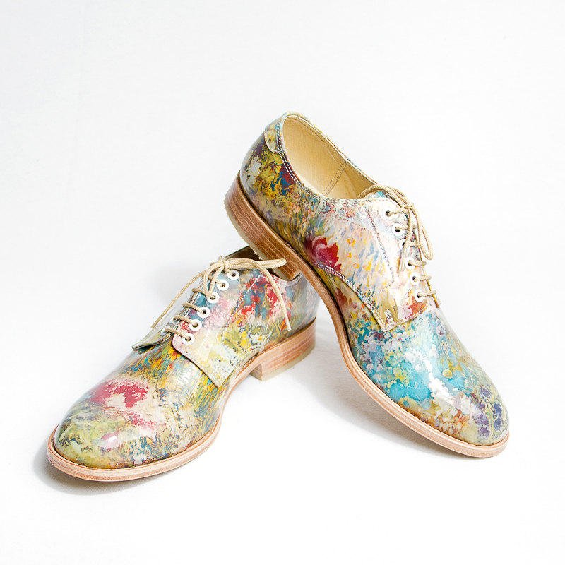 Custom-Made Flower Patterned Leather Oxford by  goodbyefolk