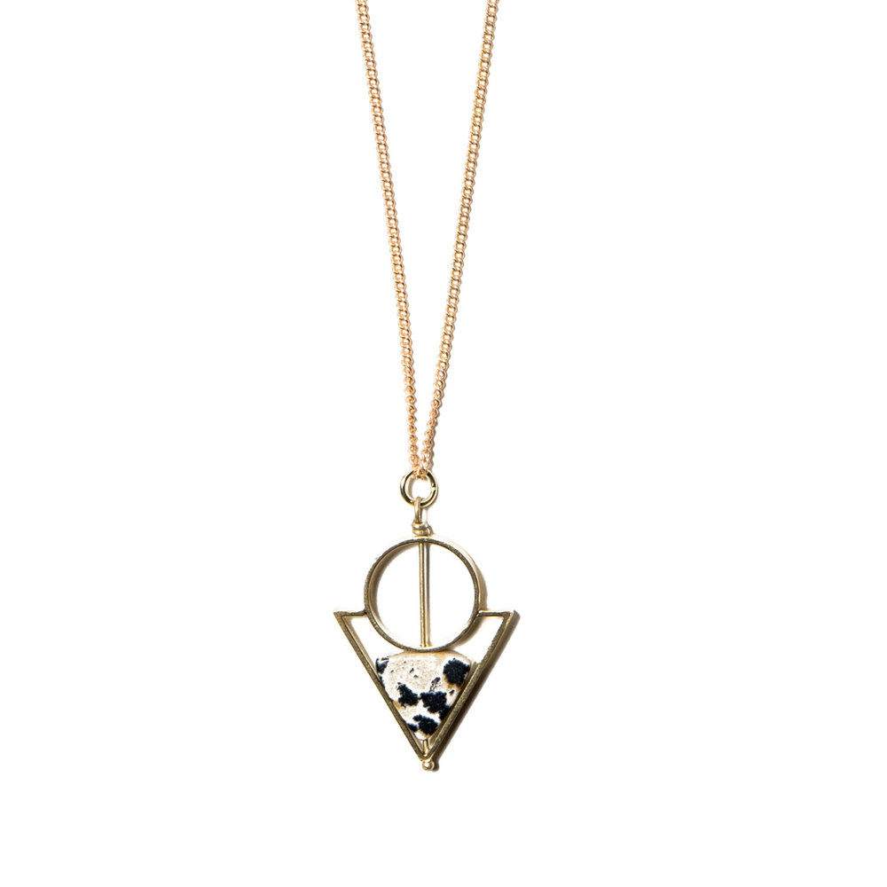 Dalmatian Jasper Double Triangle Necklace