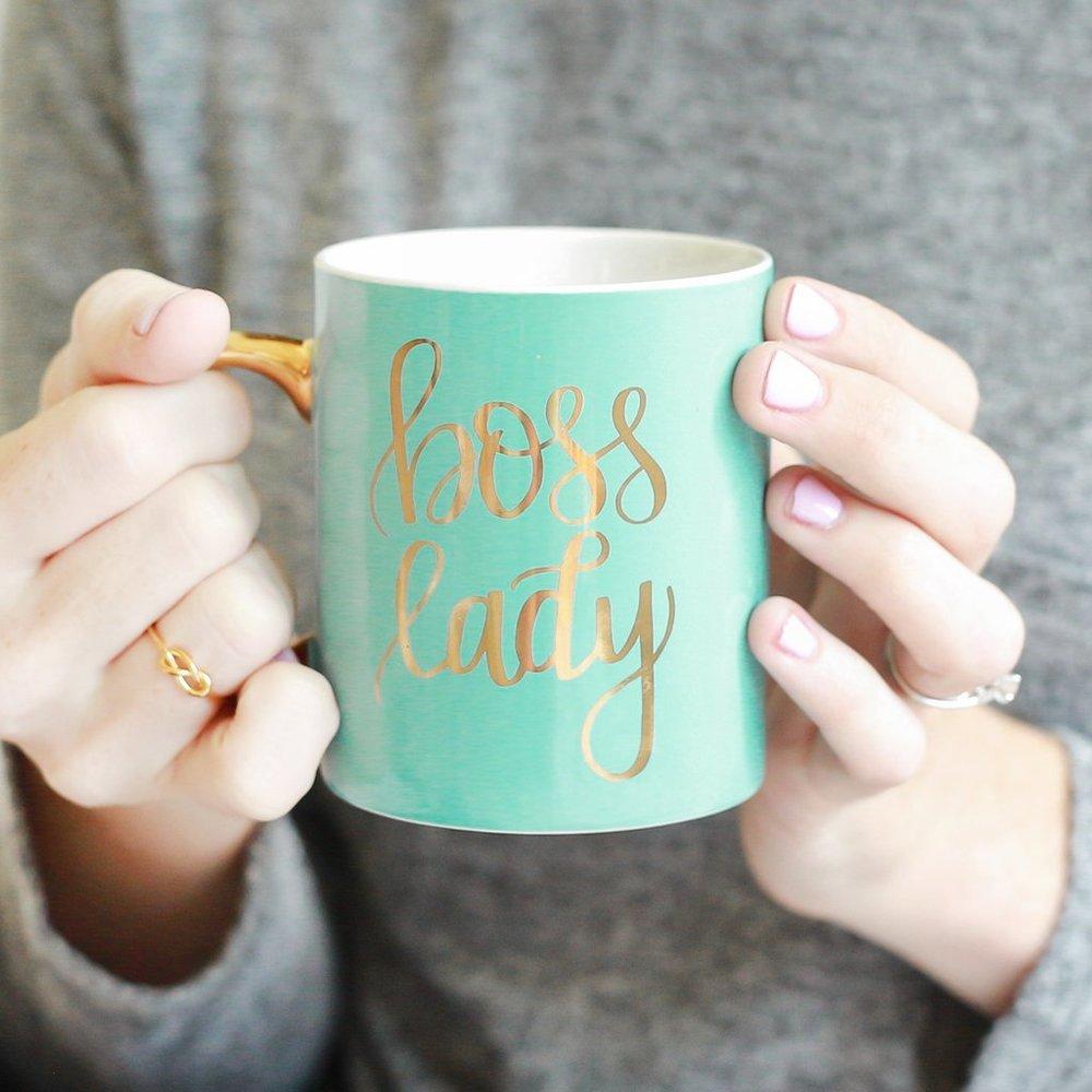 BOSS LADY MINT & GOLD COFFEE MUG