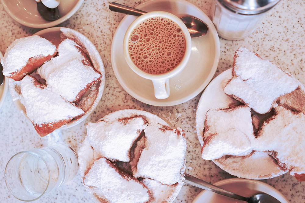 Beignets & Cafe au lait at Cafe du Monde
