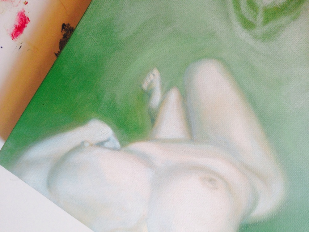 Detail of unfinished work, oil on stretched linen