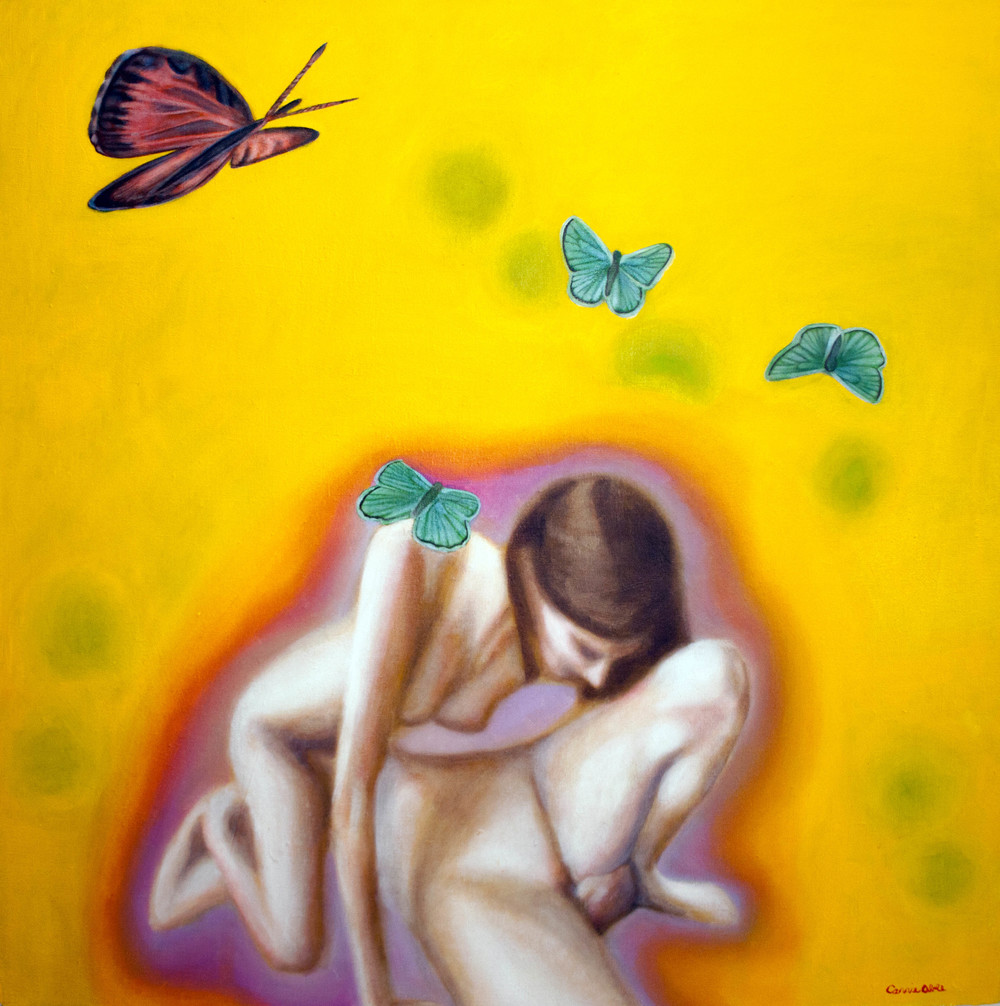 "Yellow Pink (Butterflies) oil on stretched linen, 36"" x 36"""