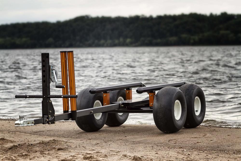 10577-16-0022-4W JetLift 4 Wheel Beach Trailer with Gigunda Options Upgrade/ black & orange