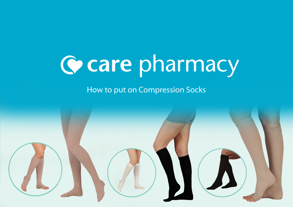 9b53e716a0b Delywn from Care Pharmacy Hastings shows how to fit compression socks in  the video below.