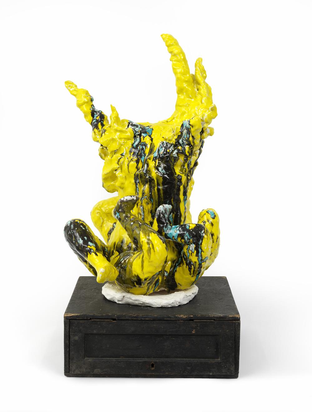 """Leopard IX,  Ceramics, found object, 35 H x 20 L x 20"""" D"""