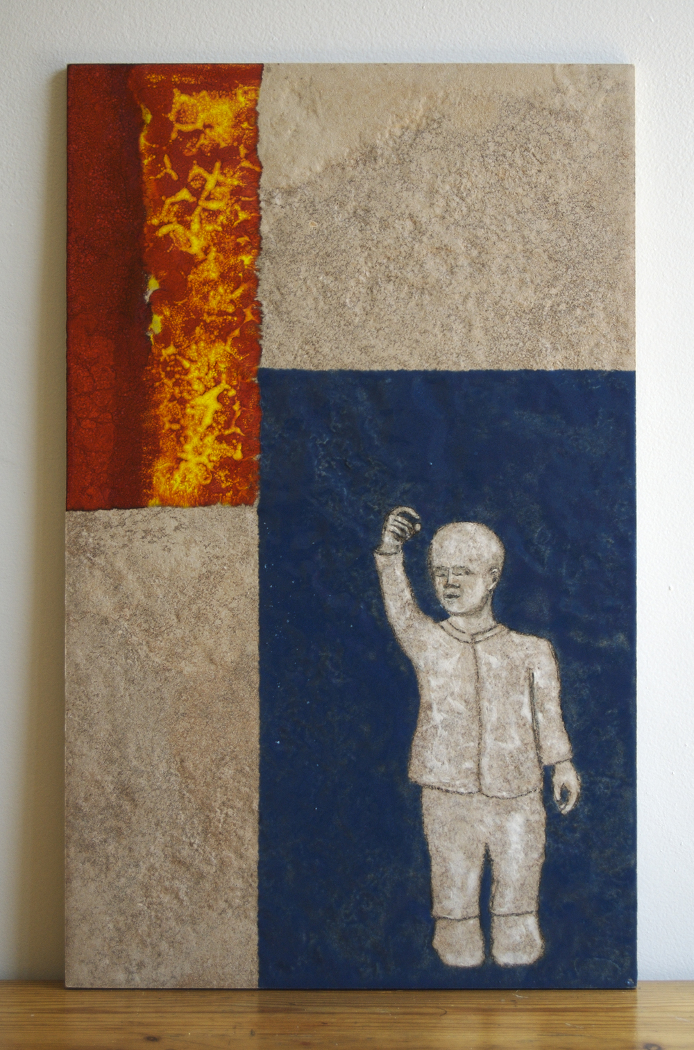 "Found. Conversations with a Bird,  Ceramic tile, glazes,  21"" x 13"""