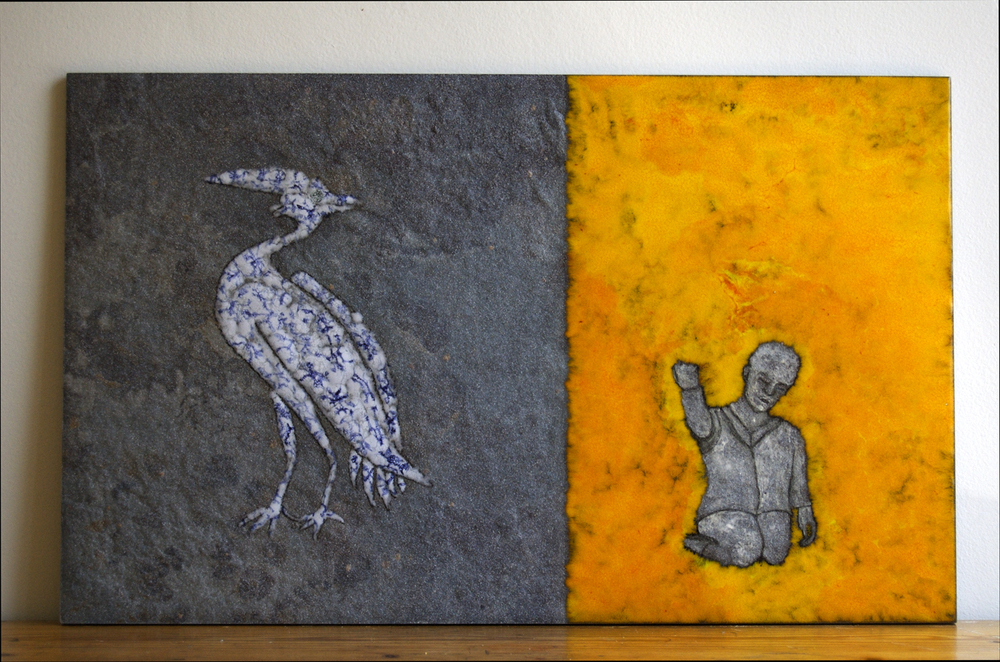 "Found. Conversations with a bird,  Ceramic tile, glaze, 13"" x 21"""