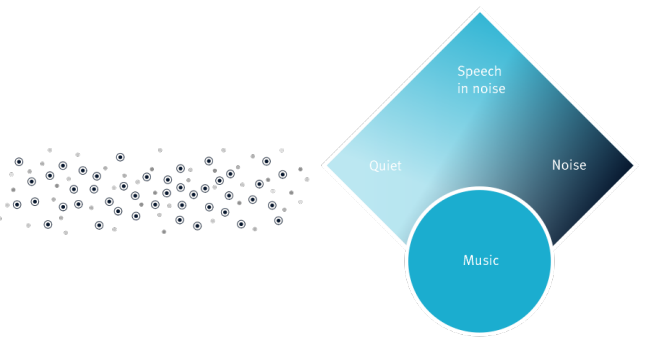 Automatic Program:  High-resolution sensors in the Automatic Program continuously analyze listening environments and provide real-time information to the classifier, which custom blends the hearing instrument's response for the optimal response in changing environments.