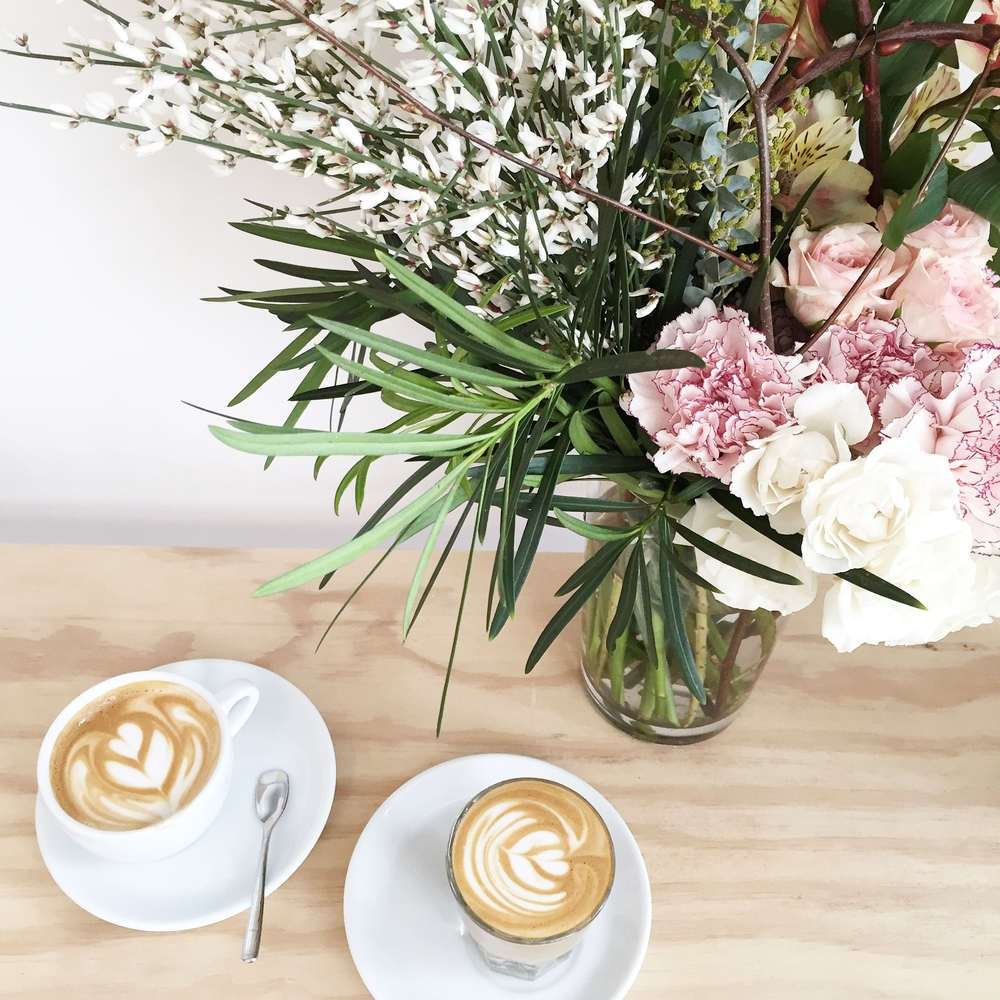 Cappuccino and flowers at 4121 Main, Pittsburgh