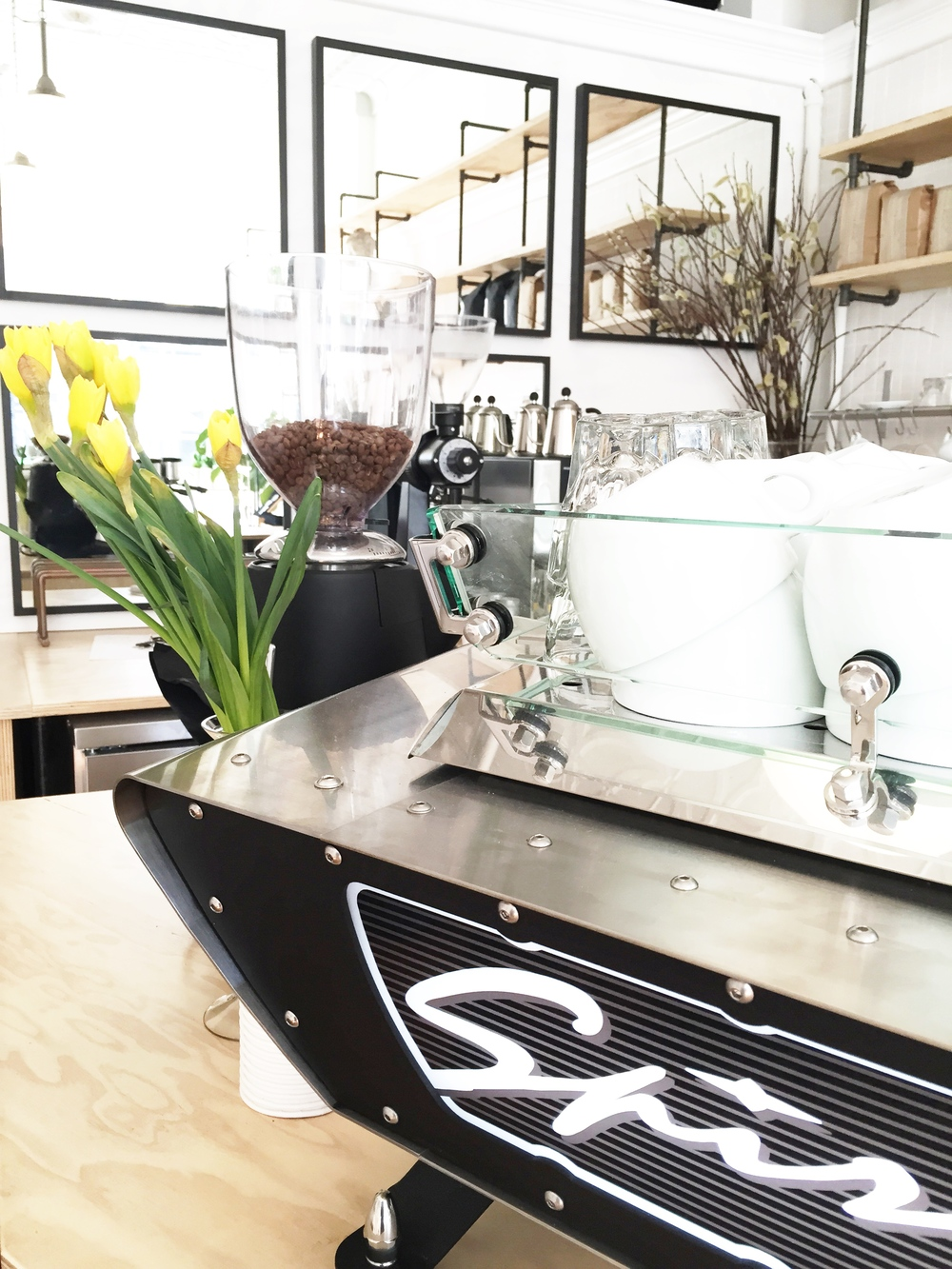 Spirit espresso machine and flowers at 4121 Main, Pittsburgh