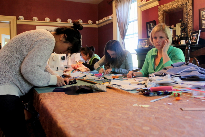 Sewing projects in the dining room