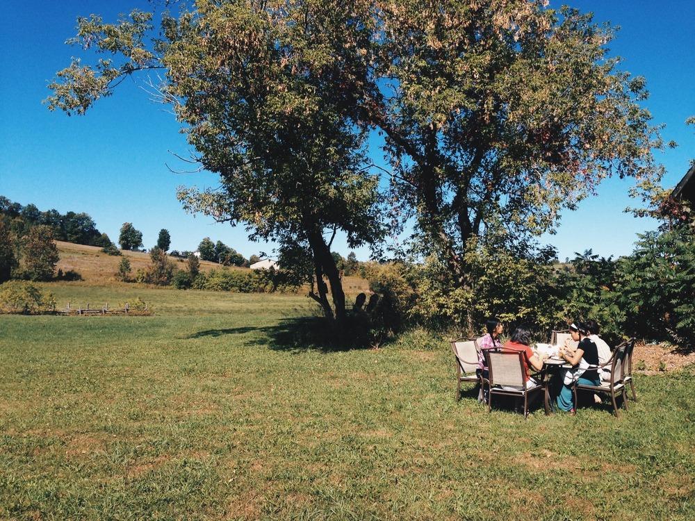 Lunch in an open field