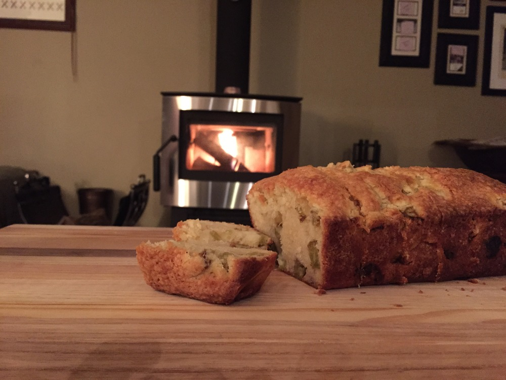 Pound cake by the fire