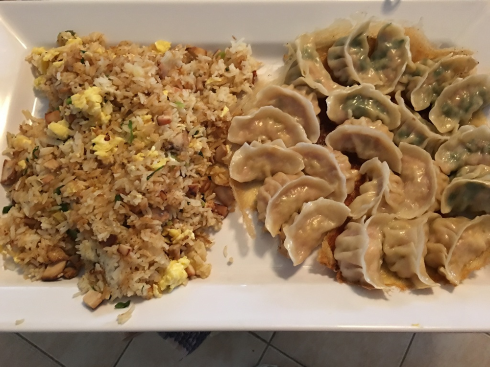 Chicken dumplings two ways: ginger and cabbage, and garlic sautéed  spinach. Served with leftover-ramen-toppings fried rice.
