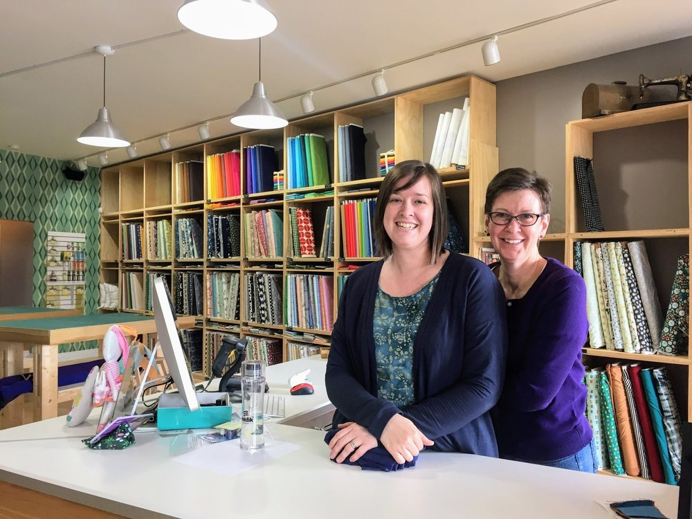 Faustina and Catherine at the shop on Saturday morning. I predict the fabric wall will be growing!