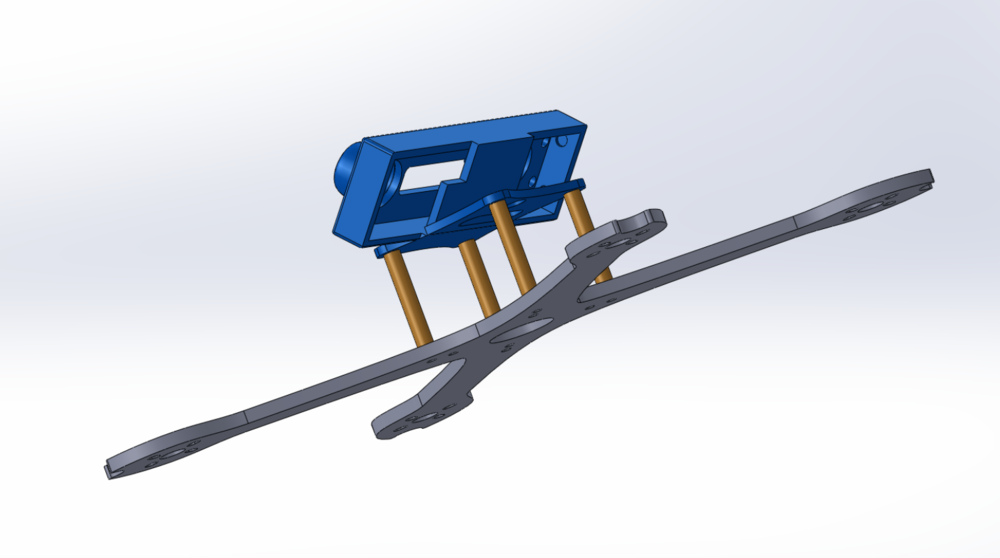 The base is split to let the cam unit in. I didn't bother adding the carbon top piece to this rendering.