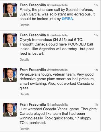 SAISIE D'ÉCRAN TWITTER Fran Fraschilla, analyste international à ESPN, en avait long à dire sur la piètre performance du Canada.