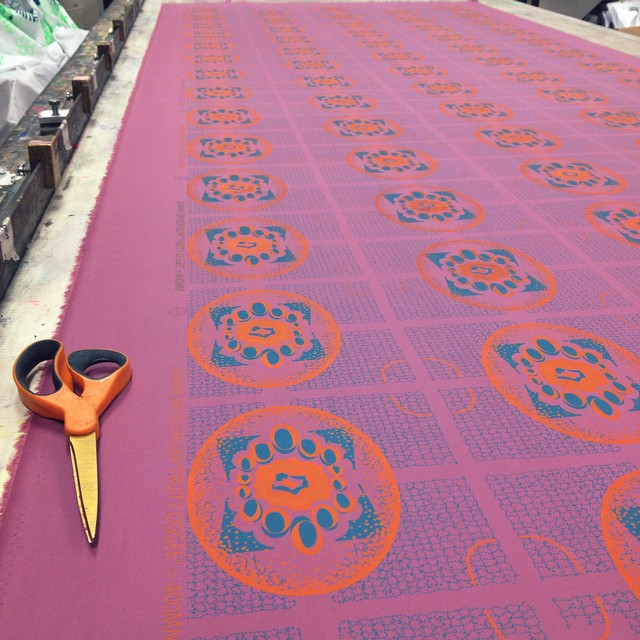 #colorway play in #screenprint  orange on turquoise on amethyst #textiledesign