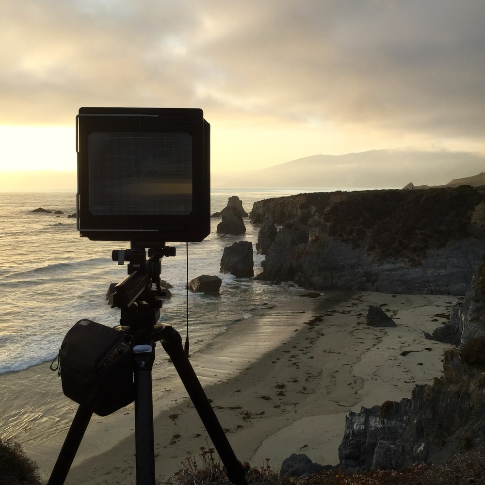 The Arca Swiss 8x10 set up, waiting for light along my favorite stretch of coastline in Big Sur, California.