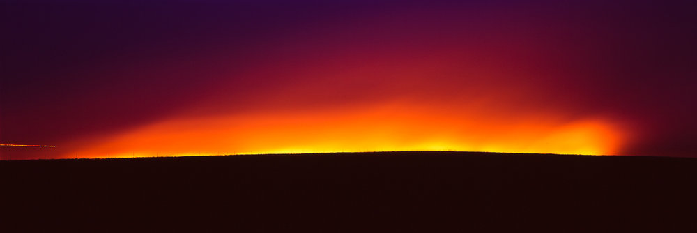 Flames on the Flint Hills  - 15x45 Framed Chromogenic C-Print