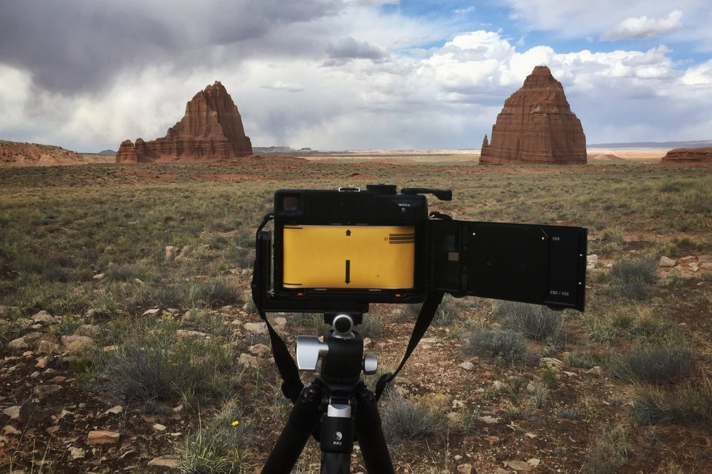 My medium format Mamiya 7ii, loaded with negative film somewhere in the backcountry of the Desert Southwest.