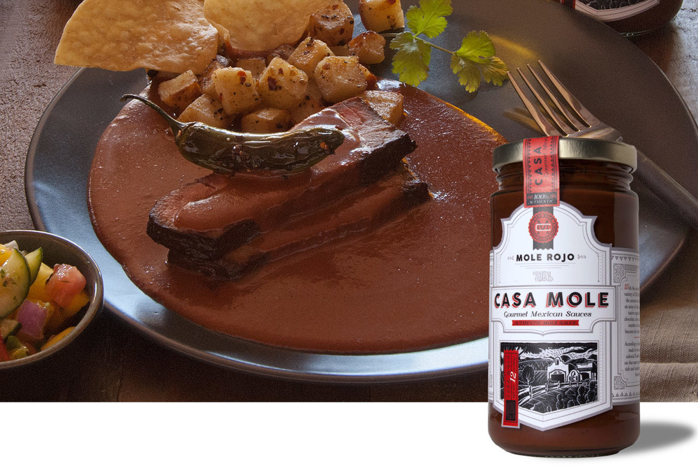 Steak and Mole Rojo - Click image to enlarge